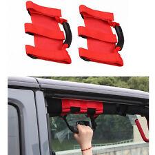 2x Red Roll Bar Grab Handles Grip Hand Holder For Jeep Wrangler JK Unlimited #ya