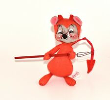 VINTAGE ANNALEE MOBILITEE MOUSE 6 Inches Red Devil Horns Pitchfork Tail 1982