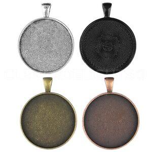 "Round Pendant Trays - 30mm (1 3/16"") - Silver Bronze Copper Black Mix 10 20 50"