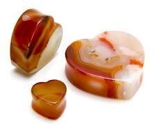 Heart Double Flare Red Agate Stone Plug - Price Per 1