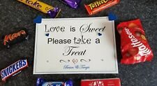 A5 Personalised Sweet Table / Candy Cart Sign Love Is Sweet Take A Treat