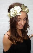 Metallic Gold Orchid Flower Ivory Hair Head Band Choochie Choo Bohemian Bridal