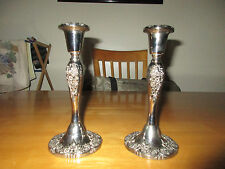 """2 Plated Silver Candlestick Holders 8 1/4"""" Flower Motif"""
