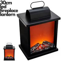 30cm LED Fireplace Metal/Glass Lantern Home Decor (Battery Operated) - Medium
