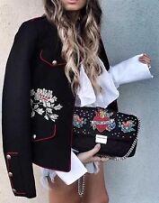 Zara acolchado bordado Bandolera con cadena y Parche ❤
