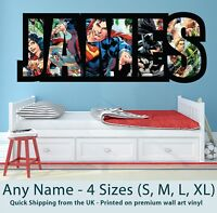 Childrens Name Wall Stickers Art Personalised Superman Batman for Boys Bedroom