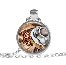 Coffee jewelry Brown coffee bean necklace Tibet silver pendant chain Necklace