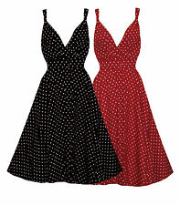 LADIES PLUS SIZE BLACK / RED POLKADOT RETRO ROCKABILLY SWING DRESS SIZE 14 - 20