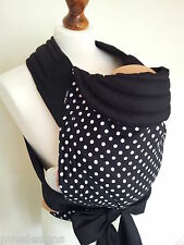 MEI TAI BABY CARRIER / SLING/ REVERSIBLE/ POLKA DOTS WH&BL/ HANDMADE/ MADE IN UK