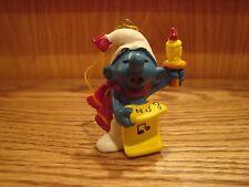 Rare Vintage Schleich Caroler Smurf Christmas Ornament PVC Figure
