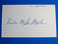 EMILE MIKE MEOLA SIGNED 3x5 INDEX CARD ~ 1933-36 BOSTON RED SOX ~ Died 1976