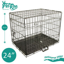 """24"""" Medium Collapsible 2 Door Metal Wire Dog Crate Cage With Tray Pet Puppy"""