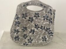 LADIES WEDDING / EVENING BAG LIGHT GREY BEADED BY MOYNA