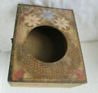 ANTIQUE PRIMITIVE HAND PAINTED WOODEN WALL HANGING alarm CLOCK BOX