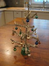 Cute Little Vintage Table Top Silver Tinsel Tree Lot Sm-150*