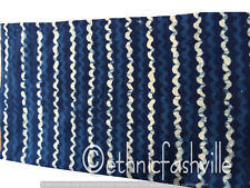 Blue Striped Indian Hand Block Print Sewing Material Craft Fabric 3 Yard Cotton