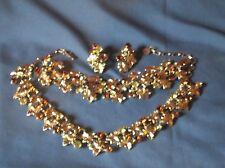 Vintage LERU Yellow Clear Brown Rhinestone Necklace Bracelet Earrings Parure