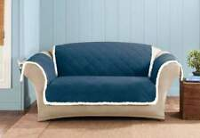 Sure Fit Reversible Soft Suede and Sherpa Loveseat Furniture Cover in Navy