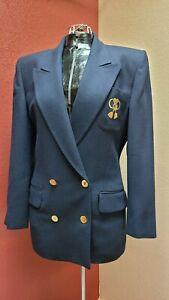 Vintage Christian Dior Crest Dress Fashion Blazer Women's Size 8 Dark Blue WOOL