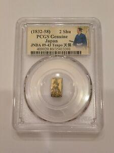 1832-58 Japan 2 Shu Gold Coin PCGS Genuine, JNDA 09-43 Samurai Label Tenpo Era