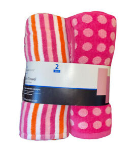 Mainstays 2pk Beach Towel Set-Pink Polka Dot & Pink/Orange Stripes