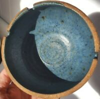 Vintage signed Hand Thrown Clay Ashtray Boho Textured ext. Smooth Blue interior