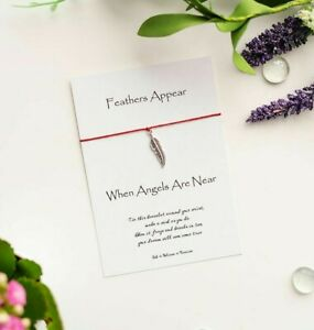 """Feather Wish Bracelet, """"Feathers Appear when Angels are Near"""", Remembrance Gift"""
