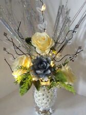 Artificial Flowers Yellow & Silver Roses In Silver Sparkle Vase Lights Up