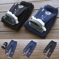 Kids Baby Girls Winter Thick Warm Fleece Lined Denim Jeans Pants Trousers 3-8Y
