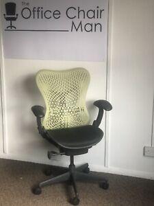 Herman Miller Mirra 1 Exec Chair Citron Back And Black Extendable Seat FrontTilt