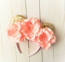 Pink and gold Minnie Mouse inspired headband,first birthday,Mickey,gold ears