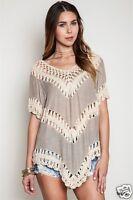 Umgee USA Top Shirt Size S Crochet Lace Sleeve Tunic Boho Boutique Blouse TAUPE