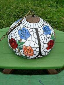 Antique Rose Stained Leaded Glass Hanging Light!! Candle Style Bulbs. Beautiful!