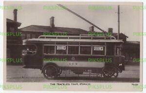 POSTCARD TROLLEY BUS AT IPSWICH RAILWAY STATION SUFFOLK REAL PHOTO VINTAGE 1924