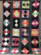 Vtg Polyester Knit Quilt Backside is Gorgeous Strip Diamond Block 82 x 62