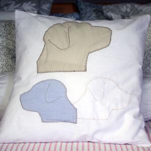 Labrador Kissenbezug weiß beige blau Shabby Landhaus 40x40 cm