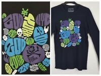Men's Black Zoo York Graphic Pop Art T-Shirt Top Size Small Long Sleeve Graffit