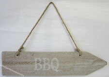 New Drift Wood Rustic Hanging Arrow Pointing to The BBQ Sign Double Sided BNWT