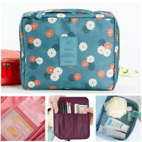 Portable Travel Makeup Case Flower Printed Cosmetic Bag Storage Organizer Pouch