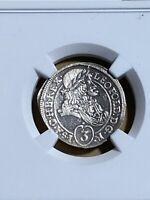 1697-CM Hungary 3 Krajczar Graded MS 61 by NGC!!!