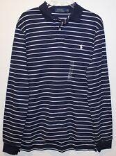 Polo Ralph Lauren Mens Navy Blue White Striped L/S Soft Polo Shirt NWT Size XXL