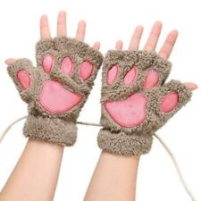 Arshiner Women Bear Plush Cat Paw Claw Glove Soft Winter Gloves Khaki