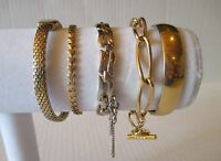 Lot of 5 VINTAGE MONET Silver & Gold Tone Bangle Bracelets toggle safety chain
