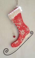 Madera & Metal Rojo Ice Skate Colgante De Pared ~ Navidad Decoración ~ 81-7149