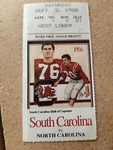 1988 NCAA Football South Carolina Gamecocks Vs North Carolina Tarheels Ticket...