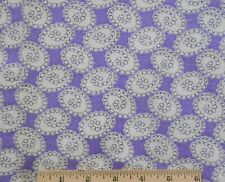 "Vintage Feed Sack Fabric Material 38"" x 37"" Purple Medallions 2 Spots"