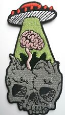 UFO Alien Brain Abduction Space Roswell Patch Skull Embroidered Iron On 4.5""