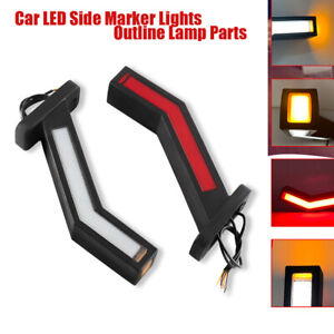 2PCS 12-24V Car LED Side Marker Lights Outline Lamp Parts For Trailer Truck Van