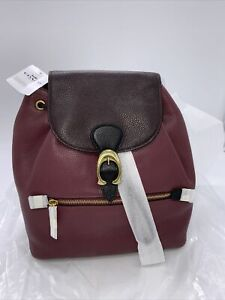 Coach 76534 Evie Backpack In Colorblock Pebble Leather - Vintage Mauve Multi NWT