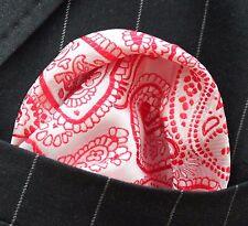 Hankie Pocket Square Handkerchief Red & Light Pink Paisley